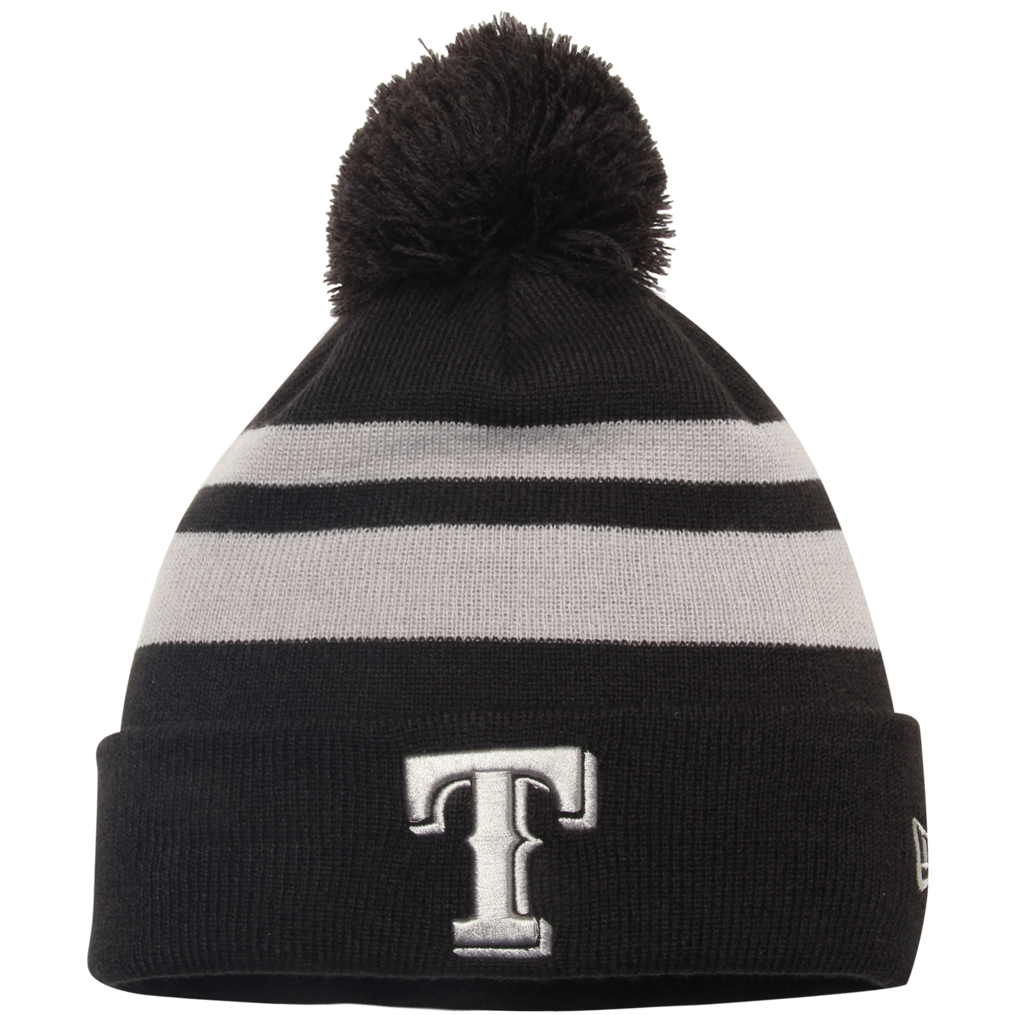 Texas Rangers New Era Double Stripe Cuffed Knit Hat With Pom Black OSFA by NEW ERA CAP COMPANY