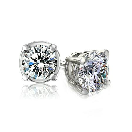 0.4 Carat 14K White Gold Brilliant-Cut Diamond Stud Earrings (0.4 Cttw, G-H Colour, I2-I3 Clarity) - image 2 de 2