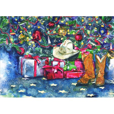 LPG Greetings Cowboy Hat and Boots under Tree: Karen Rae Western Christmas Card (Cowboy Hat And Boots)