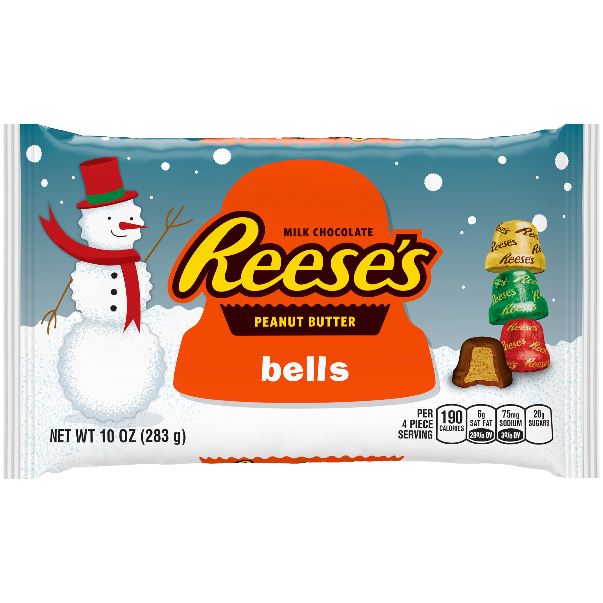 Reese's Holiday Peanut Butter Bells Christmas Candy, 10 oz
