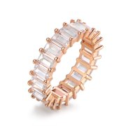 18K Rose Gold Plated Emerald-Cut Cubic Zirconia Eternity Band Ring