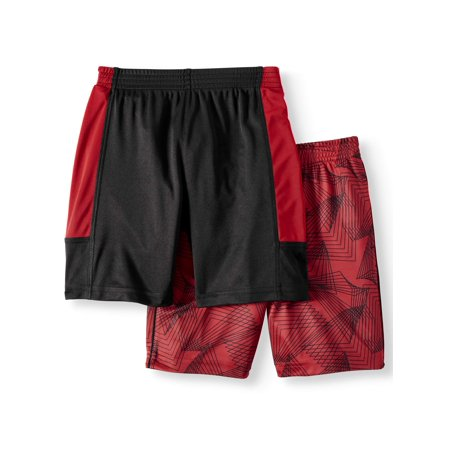 Wonder Nation Solid Drawstring Short & Sublimated Printed Short with Pockets, 2-pack (Toddler (Oneill Solid Boy Short)