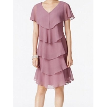 SLNY NEW Pink Womens Size 2 Tiered V-Neck Capelet Sheer Shift - Capelet Dress