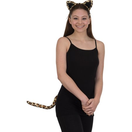 Velvet Leopard Ears Headband and Tail Costume Accessory Set