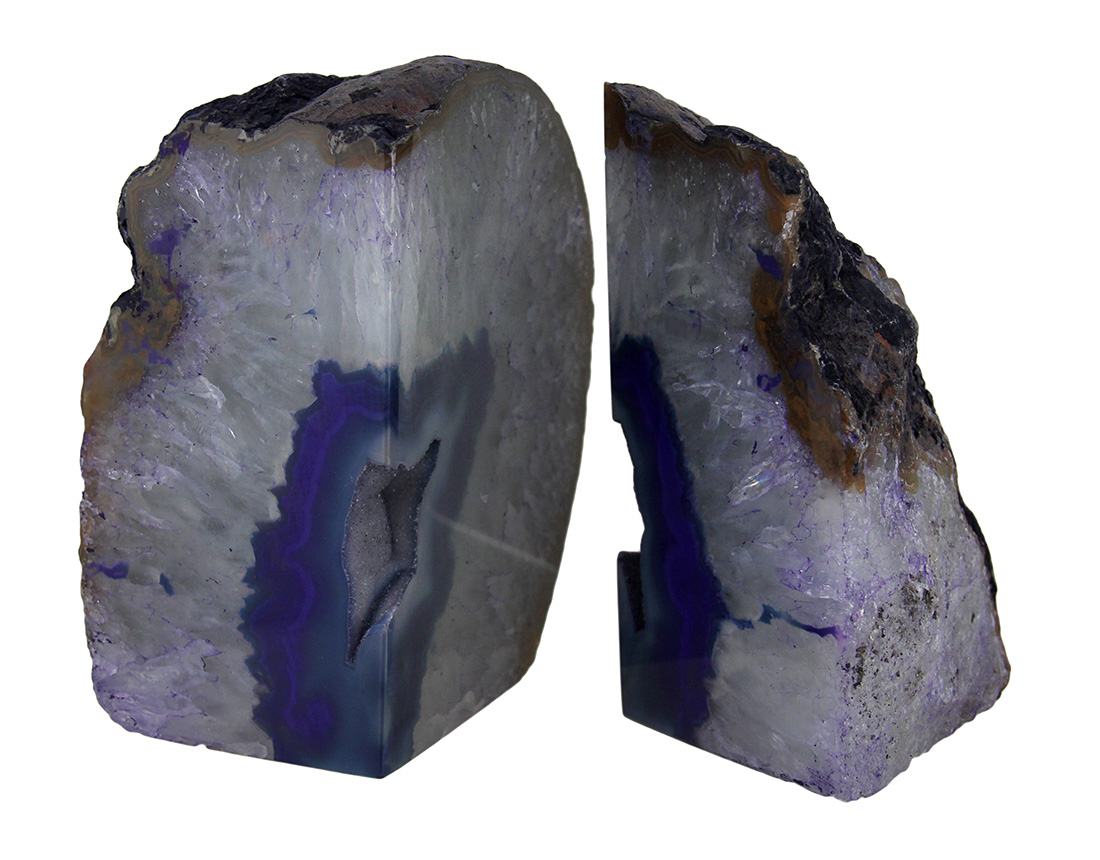 Large Polished Purple Brazilian Agate Geode Bookends 7-11 Pounds by Village Originals