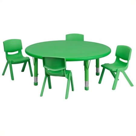 """Bowery Hill 5 Piece 45"""" Round Adjustable Table Set in Green - image 2 de 2"""