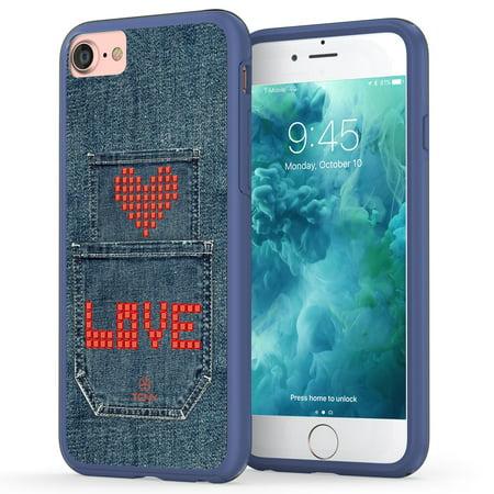 Denim Pocket Designs - iPhone 7 Denim Case, True Color Denim Jeans Pocket with Red Love & Heart Patchwork Design 3D Printed on Clear Hybrid Cover Hard + Soft Slim Durable Protective Shockproof TPU Bumper