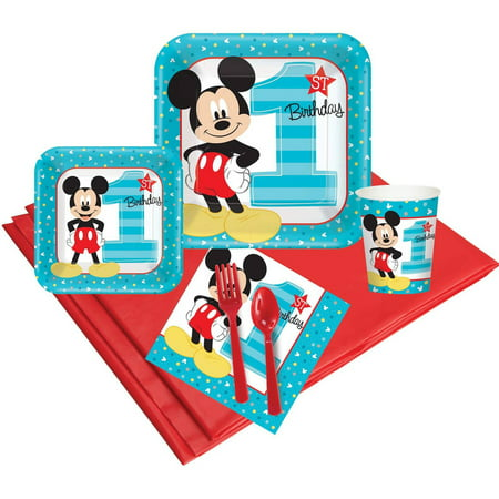 Disney Mickey Mouse 1st Birthday 24-Guest Party Pack](Mickey Mouse Halloween Party Birthday Invitations First)