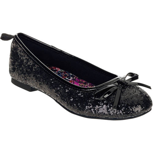FADED GLORY Youth Girl/'s Glitter Dazzle Ballet Flat Dress Shoes Silver SZ 13