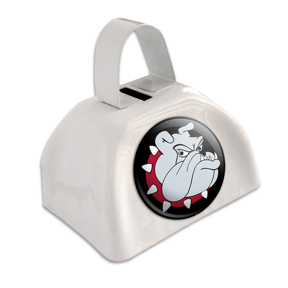 Bulldog Dog White Cowbell Cow Bell by Graphics and More