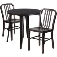 "Lancaster Home 30"" Round Black-Gold Metal Indoor-Outdoor Table Set with 2 Slat Back Chairs"