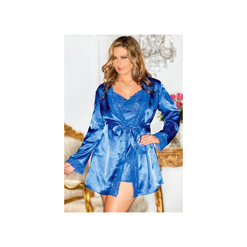 iCollection Sultry Satin Diva Robe 7897XIB Blue