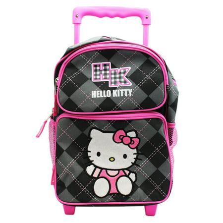 Hello Kitty Black and Gray Pattern w/Pink Trim Rolling Backpack (12in) (Hello Kitty Backpack Black)
