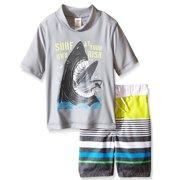 OshKosh Shark Rash Guard Set Boys Swimsuits Grey 12M
