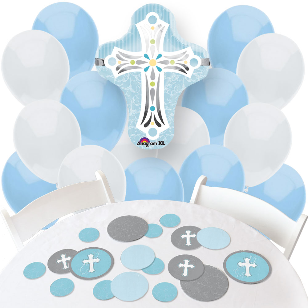 Little Miracle Boy Blue & Gray Cross - Confetti and Balloon Decorations - Combo Kit