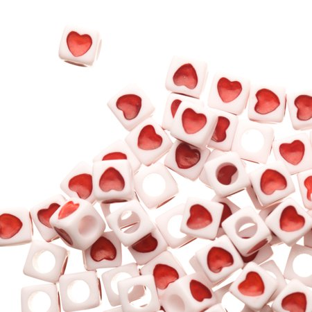 Heart Beads (Red Heart Emoji Spacer Acrylic Beads)