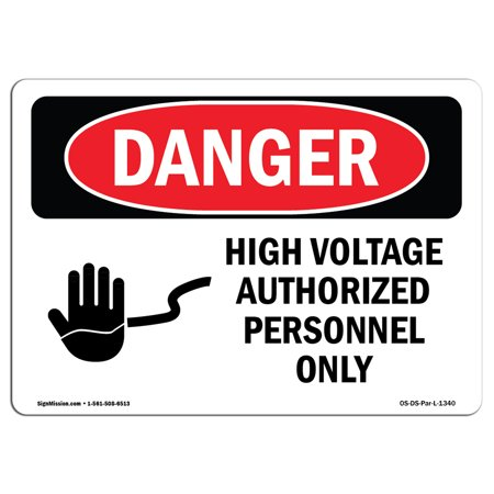 Danger High Voltage Tabs - OSHA Danger Sign - High Voltage Authorized Personnel Only 5