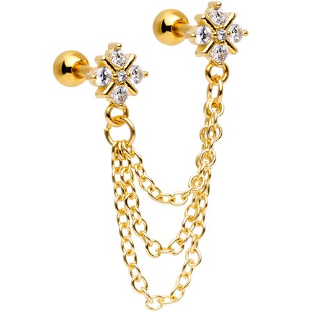 "Body Candy 16G Gold PVD Steel 1/4"" Clear Accent Deco Cartilage Chain Earring Double Piercing for Women 6mm"