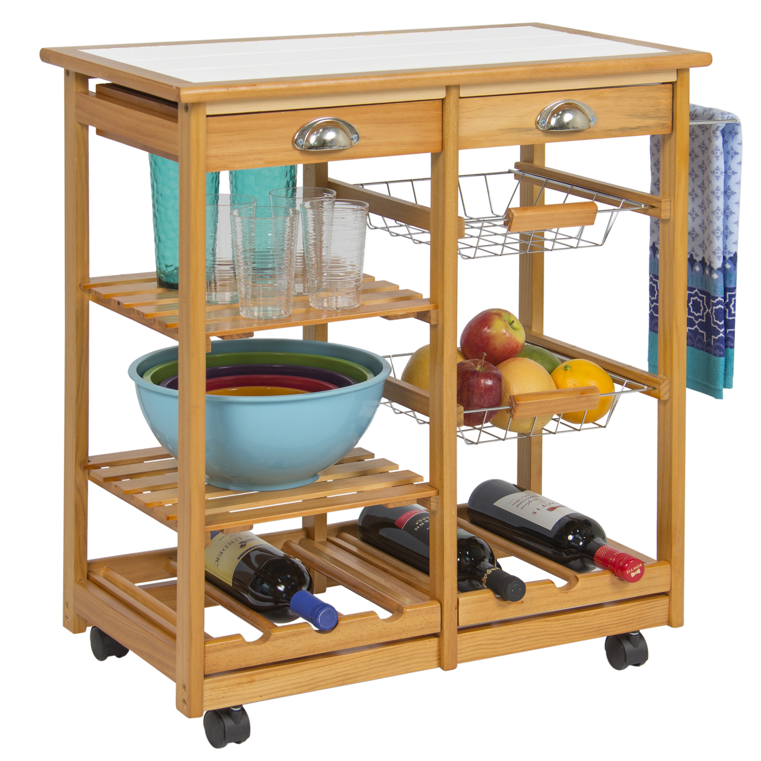 Best Choice Products Rolling Wood Kitchen Storage Cart Dining Trolley W/ Drawers