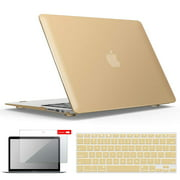 IBENZER Macbook Air 13 Inch Case A1466 A1369, Hard Shell Case with Keyboard & Screen Cover for Apple Mac Air 13 Old Version 2017 2016 2015 2014 2013 2012 2011 2010, Gold, A13GD+2