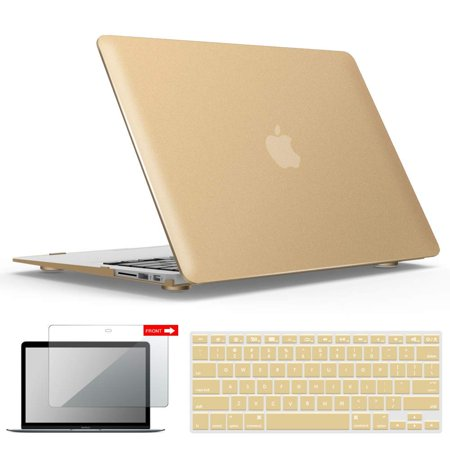 IBENZER Macbook Air 13 Inch Case A1466 A1369, Hard Shell Case with Keyboard & Screen Cover for Apple Mac Air 13 Old Version 2017 2016 2015 2014 2013 2012 2011 2010, Gold, A13GD+2 Orange Pocket Top Laptop Case