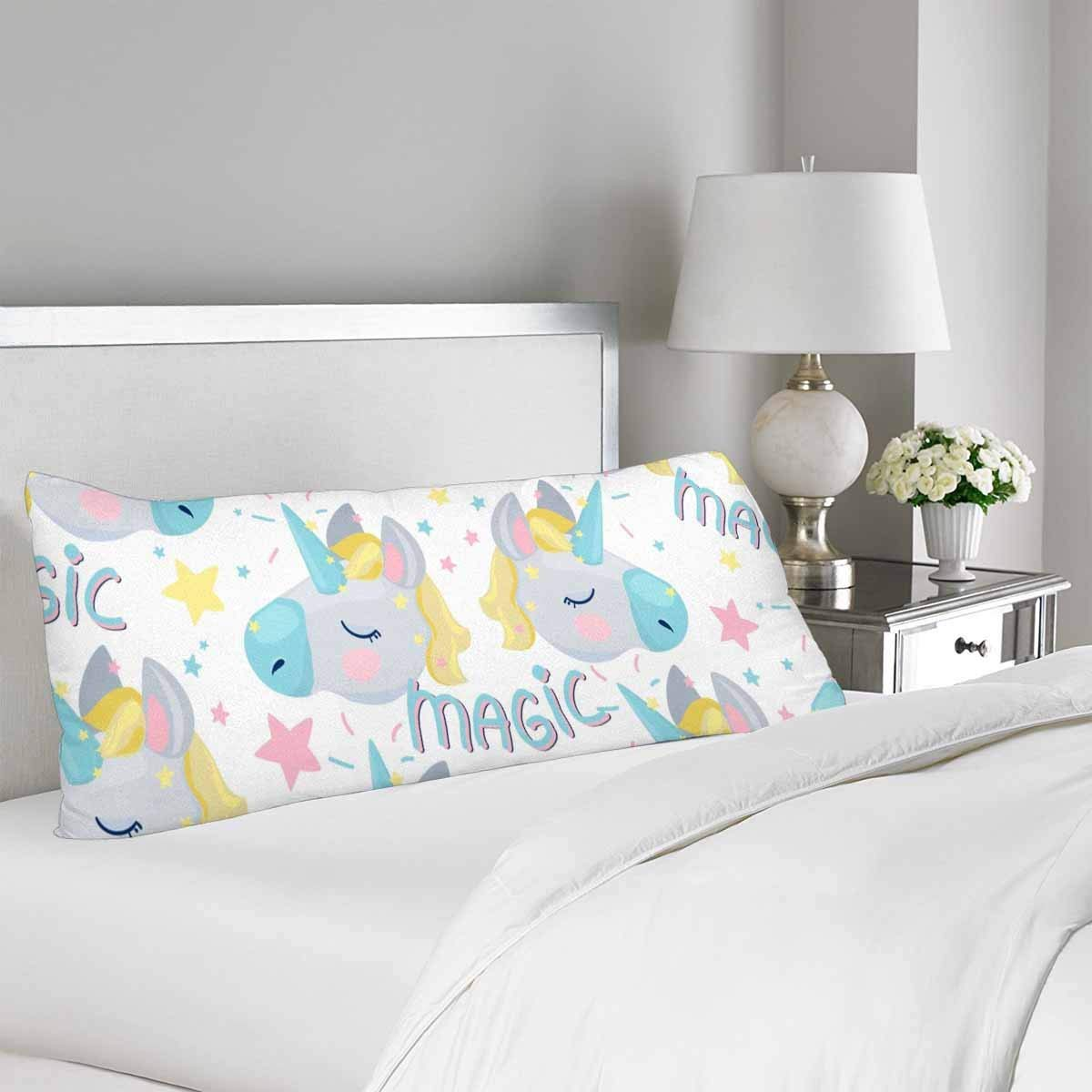 GCKG Cute Magic Unicorn Body Pillow Covers Pillowcase 20x60 inches, Cartoon Unicorn Body Pillow Case Protector - image 1 de 2