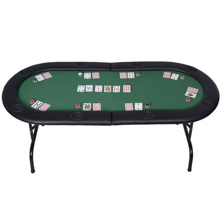 Foldable 8 Player Poker Table Casino Texas Hold'em Play Table Holdem Card