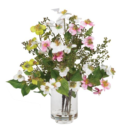 Nearly Natural 4687 Dogwood Silk Flower Arrangement, Assorted