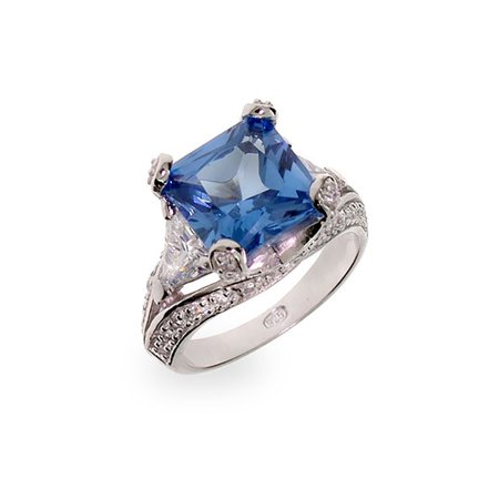 Princess Cut Blue CZ Vintage Style Cocktail Ring - Clearance Final Sale