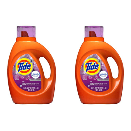 (2 pack) Tide plus Febreze Freshness Spring And Renewal Scent Turbo Clean Liquid Laundry Detergent, 92 oz, 59 loads
