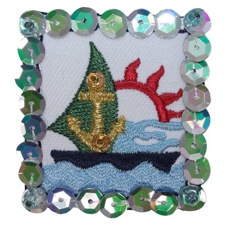 ID 1881B Ocean Sailboat Patch Ship Badge Sequin Embroidered Iron On Applique