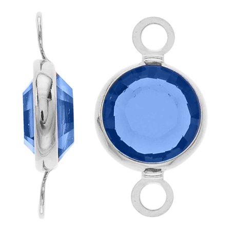 Swarovski Crystal Connector (Swarovski Crystal, Rhodium Plated Channel Connector Link, 7mm, 4 Pieces, Sapphire )