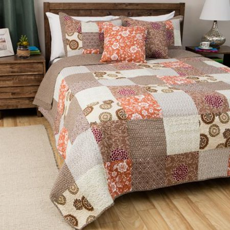 Greenland Home Fashions Oversized Stella Multicolor 100 Percent Cotton 3 Piece Patchwork Quilt