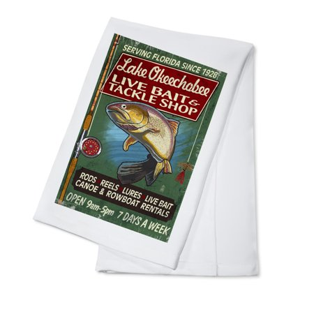 Lake Okeechobee, Florida - Tackle Shop Trout Vintage Sign - Lantern Press Poster (100% Cotton Kitchen
