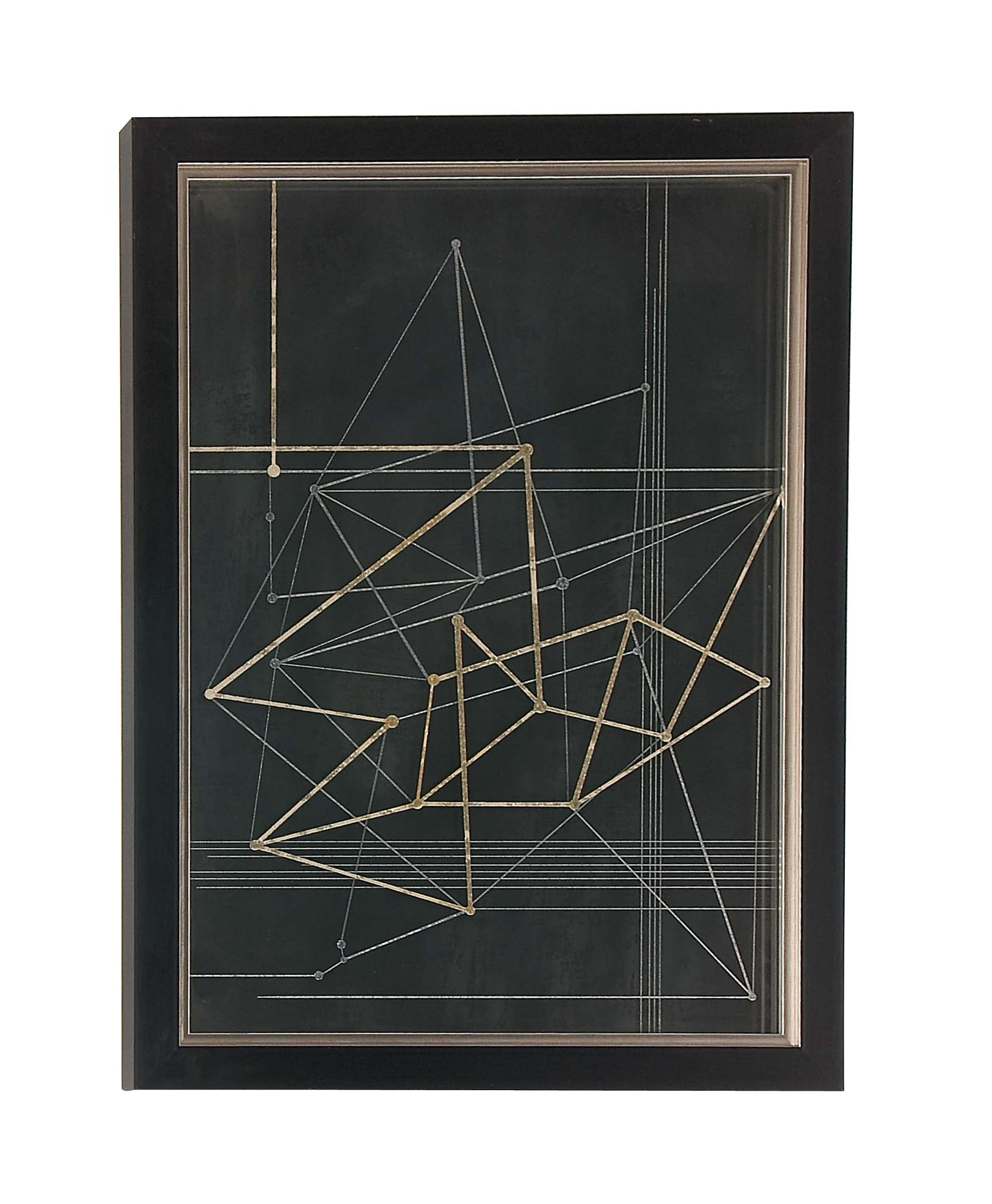 Decmode Contemporary Wood and Polystone Triangles and Lines Framed Wall Artwork, Black by DecMode