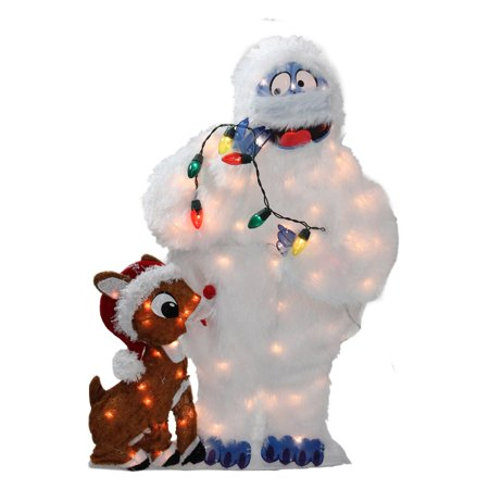 CC Home Furnishings 32 in. Pre Lit Peanuts Rudolph and Bumble Yard Art Decoration