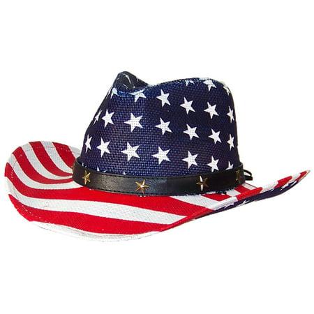 7f4373f771d0e Tropic Hats - Tropic Hats Mens Patriotic U.S. Flag Cowboy Hat W Metal Stars  On Band (One Size) - Red White Navy Stars On Crown - Walmart.com