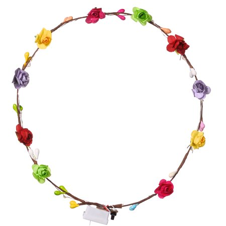 Lux Accessories Light Up Floral Flower Head Wreath Flower Crown Hair - Floral Head Wreath