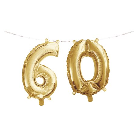 Gold Colored Foil - Club Pack of 24 Gold Colored '6' '0' Party Foil Balloon Banners 9.75