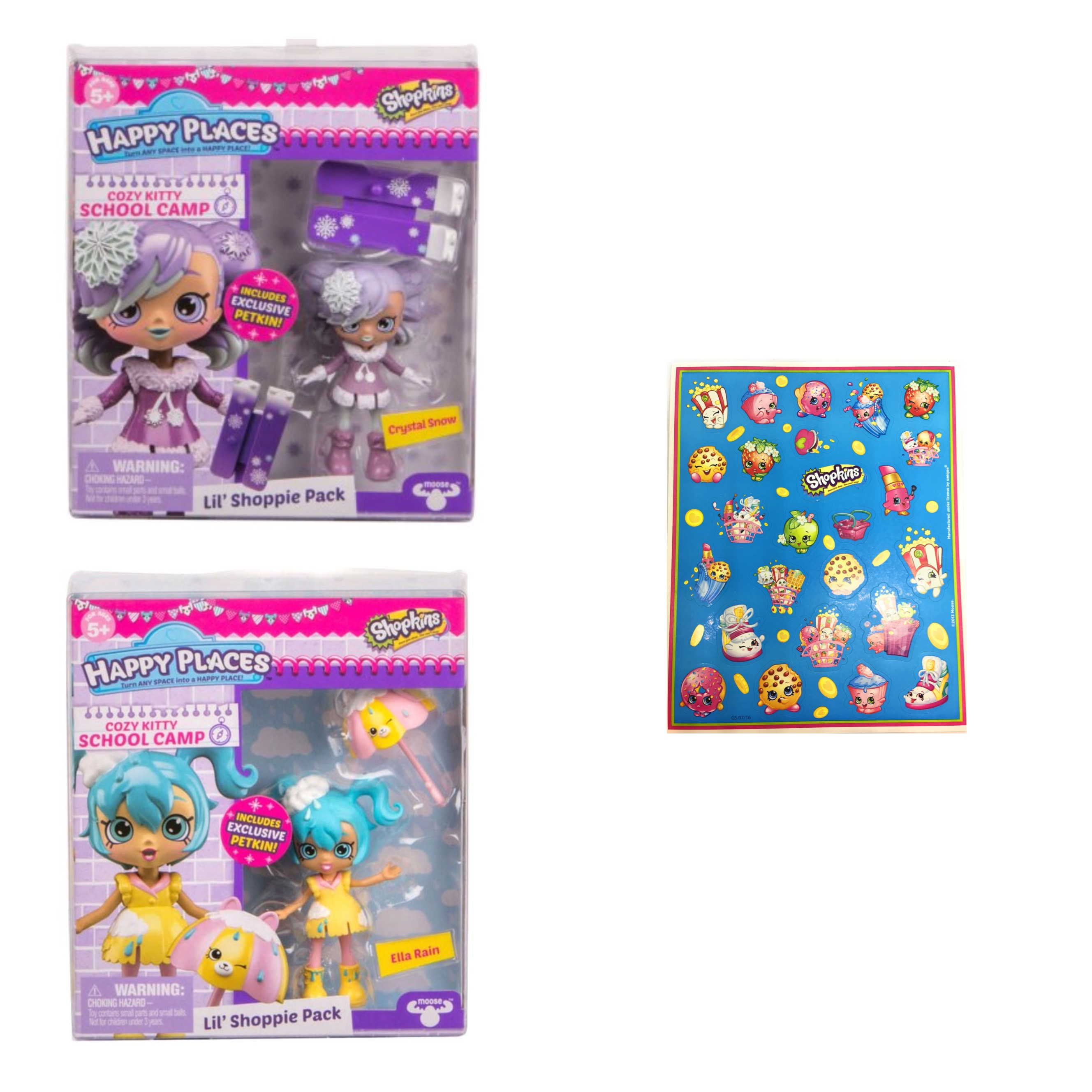 Shopkins Happy Places Cozy Kitty School Camp Lil' Shoppie Pack Crystal Snow and Ella Rain Pack with Bonus Sickers