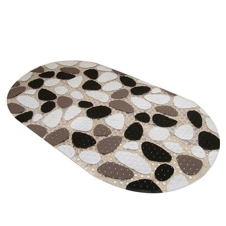 Cobblestone Mat (Antibacterial Bathroom Carpets Non-slip Rug Flower Hippo Cobblestone PVC Bath Toilet Anti-slip Mats)