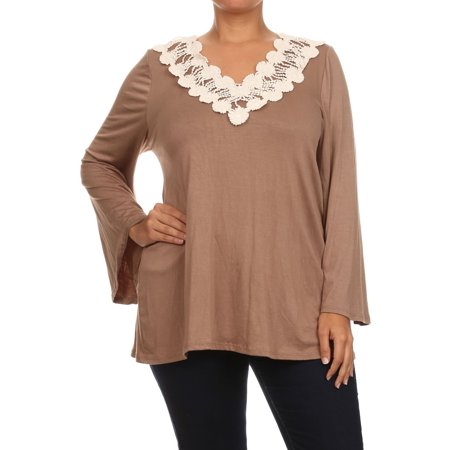 dac63a9a078 NMC - Women's PLUS trendy style solid knit top - Walmart.com