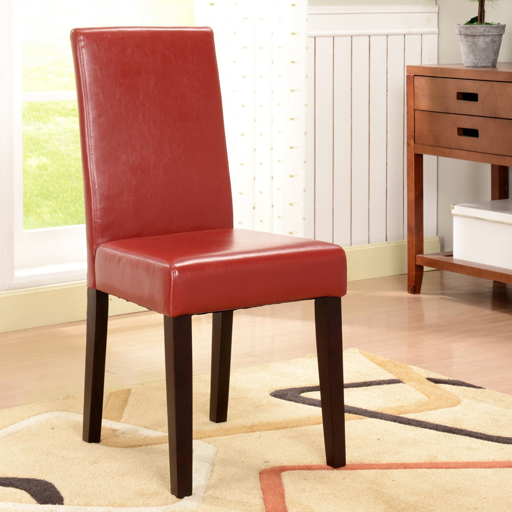 K and B Furniture Co Inc K&B Red Leatherette Parson Chairs (Set of 2)