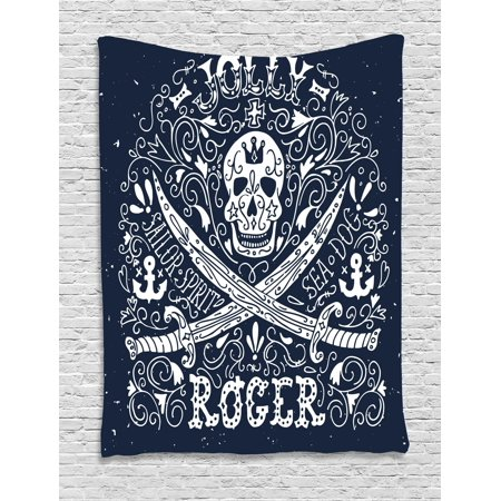 Skull Tapestry, Pirates Jolly Roger Flag Sailor Symbols Crossed Swords Theme in Blue Tones, Wall Hanging for Bedroom Living Room Dorm Decor, Dark Blue and White, by Ambesonne](Pirate Theme Decor)
