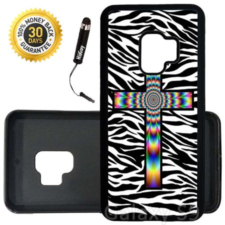 - Custom Galaxy S9 Case (Colorful Tie Dye Cross Zebra Background) Edge-to-Edge Rubber Black Cover Ultra Slim | Lightweight | Includes Stylus Pen by Innosub
