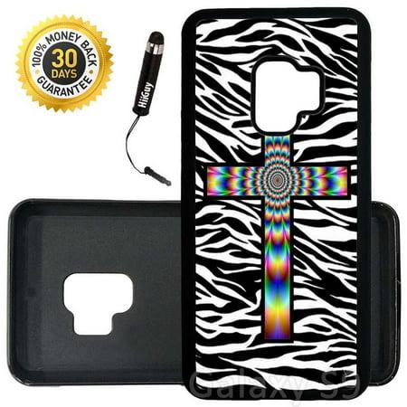 - Custom Galaxy S9 Case (Colorful Tie Dye Cross Zebra Background) Edge-to-Edge Rubber Black Cover Ultra Slim | Lightweight | Includes Stylus Pen by Innosub