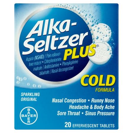 Alka-Seltzer Plus Sparkling Original Cold Formula Effervescent Tablets, 20 ct