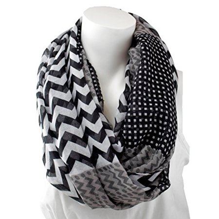 Scarf Pattern - Pop Fashion Womens Pattern Chevron Infinity Scarf with Dots Pattern