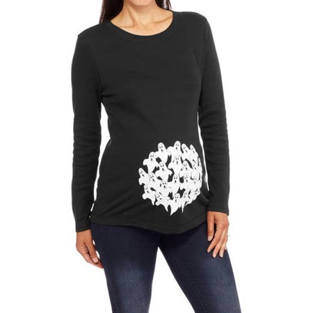 Maternity Halloween Ghosts Long Sleeve Graphic Tee
