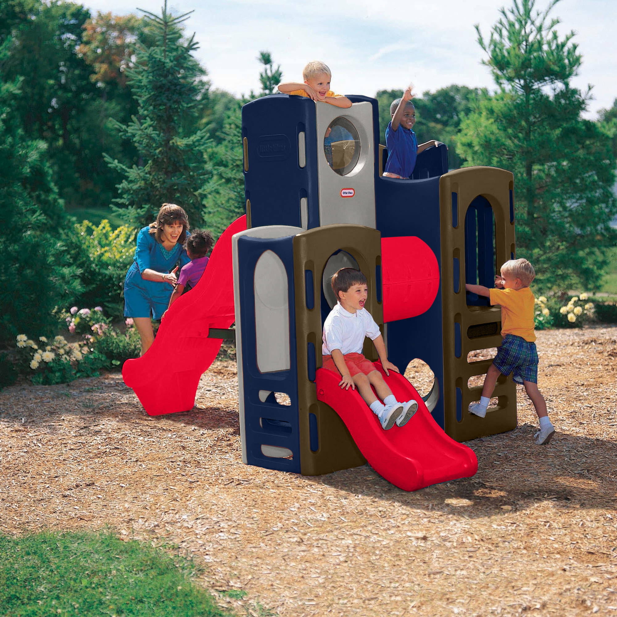Playground climber tunnel 2 slides little tikes kids 3 for Little tikes outdoor playset